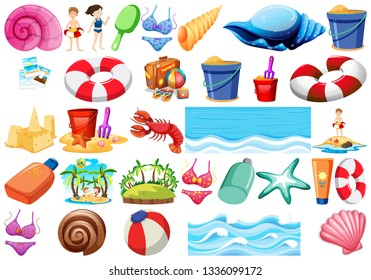 Set of beach objects illustration