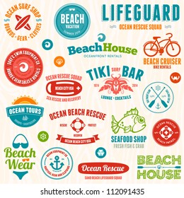 Set of beach and ocean style badges and emblems