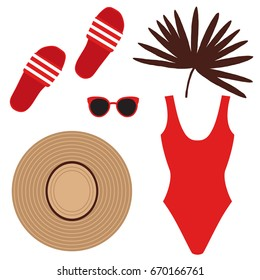 Set with Beach shoes, Sunglasses, high-cut Swimsuit, Straw hat. Accessories for the summer holidays. Vector illustration.