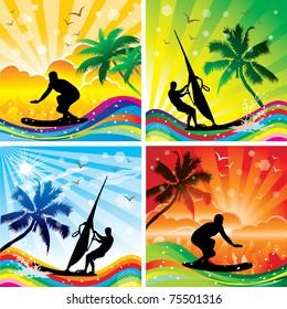Set of beach sports