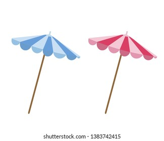 Set of beach sun umbrellas in flat style side view isolated on white background. Two parasols - blue and pink. The symbol of summer vacation.  Vector illustration.