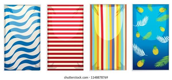 A set of beach towel illustration