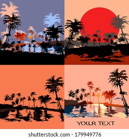 Set of beach in the tropics at sunset, vektor illustration.