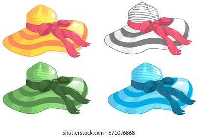 Set of beach women's straw wide-brimmed hats of different colors with ribbons, cartoon vector illustration