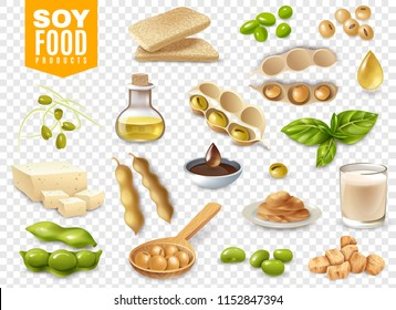 Set of beans with plant leaves and soy food products isolated on transparent background vector illustration