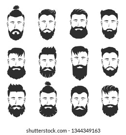 Set of bearded man faces with different haircuts and beards. Vector illustration.