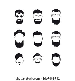 Set of bearded men silhouette faces hipster style with different haircuts. Long beard with facial hair man. Handsome man symbolizes the icons. Vector illustration, EPS 10.