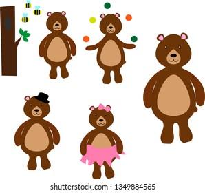 set of bears illustrations. bears in cartoon style