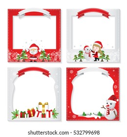 Set of a beatiful Christmas photo frame, border design element & decoration card red & white for new year,