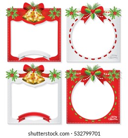 Set of a beatiful Christmas photo frame, border design element & decoration for new year,