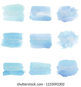 set beautiful abstract blue watercolor art hand paint on white background,brush textures for logo.There is a place for text.Perfect stroke design for headline.luxury boutique Illustrations.