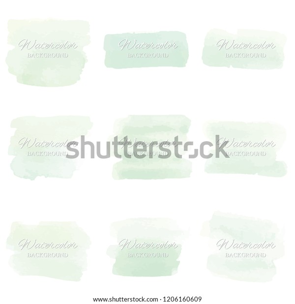 Set beautiful abstract green watercolor art hand paint on white background,brush textures for logo.There is a place for text.Perfect stroke design for headline.luxury boutique Illustrations.
