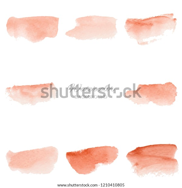 Set beautiful abstract orange watercolor art hand paint on white background,brush textures for logo.There is a place for text.Perfect stroke design for headline.luxury boutique Illustrations.