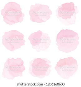 Set beautiful abstract pink watercolor art hand paint on white background,brush textures for logo.There is a place for text.Perfect stroke design for headline.luxury boutique Illustrations.