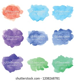 Set beautiful abstract watercolor art hand paint on white background,brush textures for logo.There is a place for text.Perfect stroke design for headline.luxury boutique Illustrations.