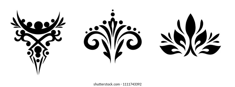 Set of beautiful angular monograms, patterns