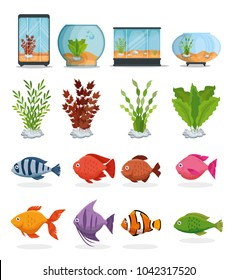 set beautiful aquariums icons