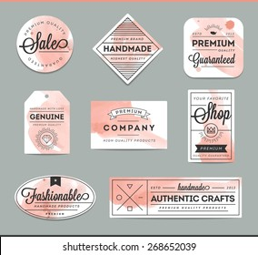 set of beautiful artistic labels, vector illustration