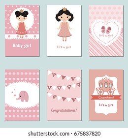 Set of beautiful baby girl card for birthday, baby shower, party