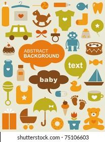 Set of beautiful baby icons
