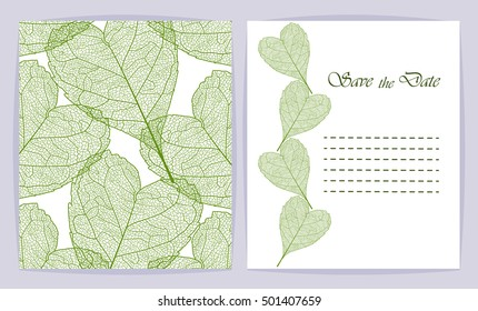 Set beautiful backgrounds with Heart-shaped leaves and space for text. Vector illustration. EPS 10