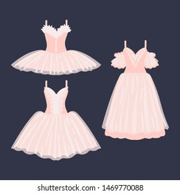 Set of beautiful ballet dresses on a dark background. Mini, midi, maxi. Vector illustration.
