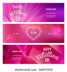 Set of Beautiful Banners on St. Valentine's Day. Vector Template Illustrations with Heart Shape and Hand Drawn Phrases.