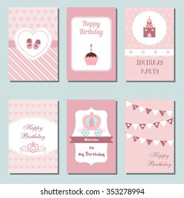 Set of beautiful birthday invitation cards decorated with carriage, castle, cake, shoes,  flags.