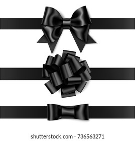 Set of beautiful black bow with horizontal black ribbon for your design and page decor. Vector decorative bow isolated on white. Black friday sale decorations