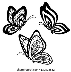 set of beautiful black and white guipure lace butterflies. Many similarities to the author's profile
