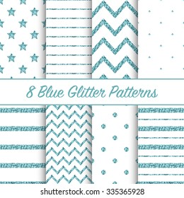 Set of beautiful blue glitter patterns for different festive designs