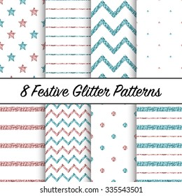 Set of beautiful blue and pink glitter patterns for different festive designs