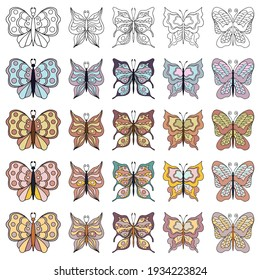 Set of beautiful butterflies. Line art and colored. Collection of isolated flat cartoon vector illustrations.