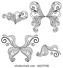 Vector Black White Line Drawing Tentacles Stock Vektorgrafik