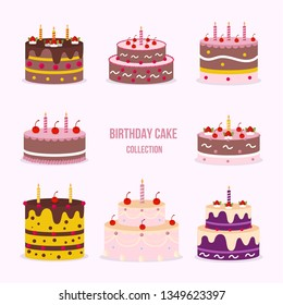 Set of beautiful cakes for birthdays, weddings, anniversaries and other celebrations. Vector illustration of a flat design