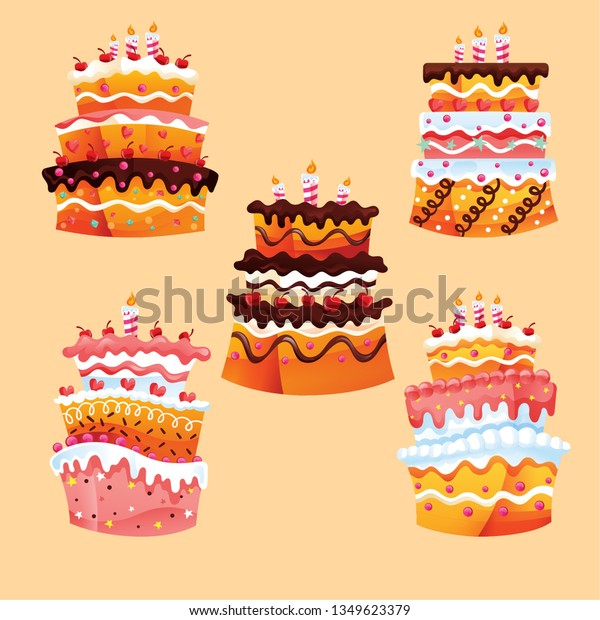 Phenomenal Set Beautiful Cakes Birthdays Weddings Anniversaries Stock Vector Birthday Cards Printable Trancafe Filternl