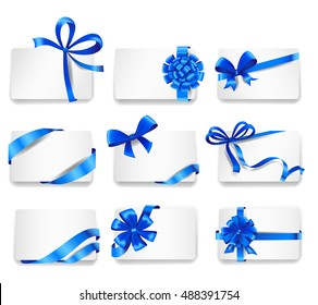 Set of beautiful cards with blue gift bows with ribbons. Vector illustration.