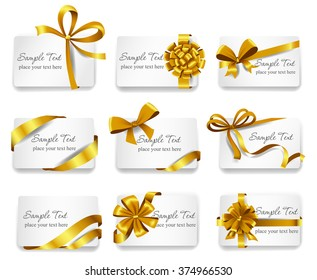 Set of beautiful cards with gold gift bows with ribbons. Vector illustration.