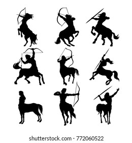Set of beautiful centaur icon in black color. Vector illustration in flat style isolated on a light background useful for logo, sign, emblem or symbol graphic design. Mythical creatures collection.