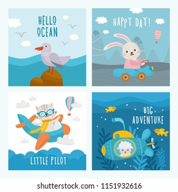 Set of beautiful childish card. For baby birthday, party, invitation. Baby Shower card. Cat flies by plane, sheep swims in the submarine, rabbit rides by car and sea landscape.
