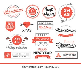Set of beautiful Christmas themed labels, badges and logos, vector illustration