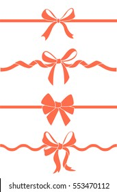 Set of beautiful decorative bows with horizontal ribbon for gift decoration. Vector red bow isolated on white.