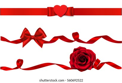 Set of beautiful decorative bows and ribbons with heart and rose for Valentine's Day. Vector holiday decorations.