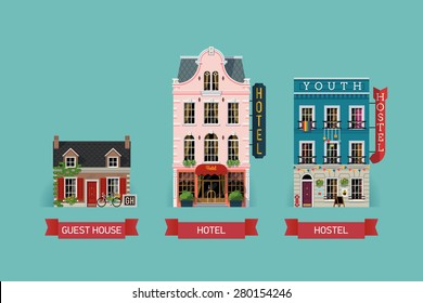 Set of beautiful detailed lodging and accommodation building facades with guest house, expensive luxury hotel and low cost youth hostel