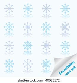 Set of beautiful different snowflakes. Vector illustration.
