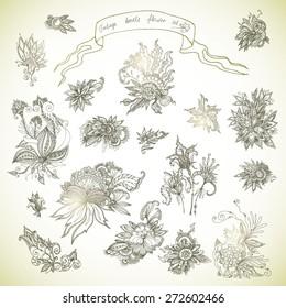 Set of beautiful doodle batik flowers