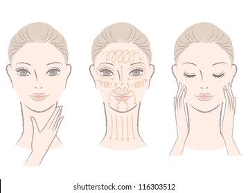Set of beautiful, elegant woman head massaging her face and neck, showing how to with massage  lines.