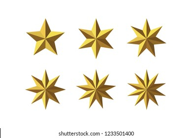 Set of beautiful faceted shiny golden metal stars isolated on white. Five, six, seven, eight, nine, ten pointed star isolated on white. Geometric figures. Design elements. EPS 10 vector.