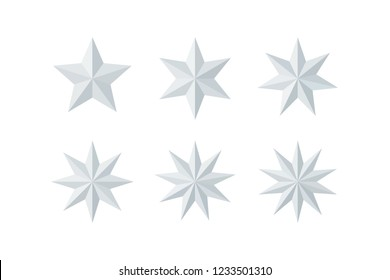 Set of beautiful faceted shiny white paper stars isolated on white. Five, six, seven, eight, nine, ten pointed star isolated on white. Geometric figures. Design elements. EPS 10 vector.