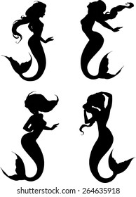 Set of beautiful fantasy mermaids in elegant passionate poses in black silhouette